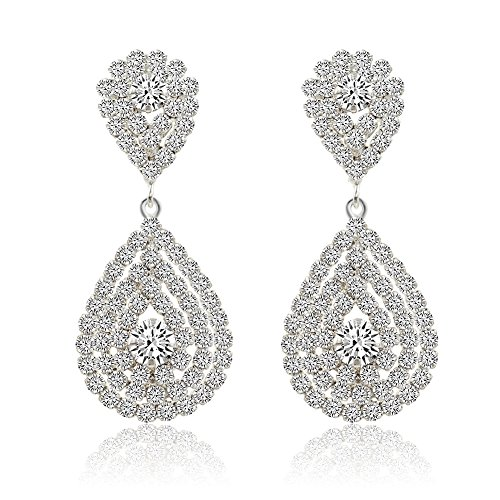 Miraculous Garden Womens Silver Plated Crystal Rhinestone Wedding Hypoallergenic Pierced Drop Dangle Earrings (Silver Plated White - Teardrop Chandelier Plated