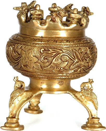 Incense-Burner-with-Nandi-Shiva-Linga-and-Peacock-Legs-Brass-Sculpture