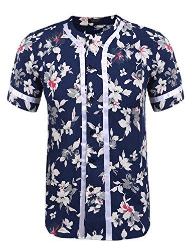 COOFANDY Men's Hip Hop Baseball Jersey Button Down Short Sleeve Shirt,Color1,Medium ()