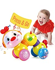 CubicFun Press and Go Inchworm Infant Baby Toys 6-12 12-18 Months Development, Educational Musical Flash Crawl Caterpillar Baby Toddler Toys for 1 2 Year Old Boys Girls, Baby Boy Girl Toys Gifts for 6 Months+