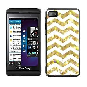 PC/Aluminum Funda Carcasa protectora para Blackberry Z10 White Glitter Chevron Pattern Shiny / JUSTGO PHONE PROTECTOR