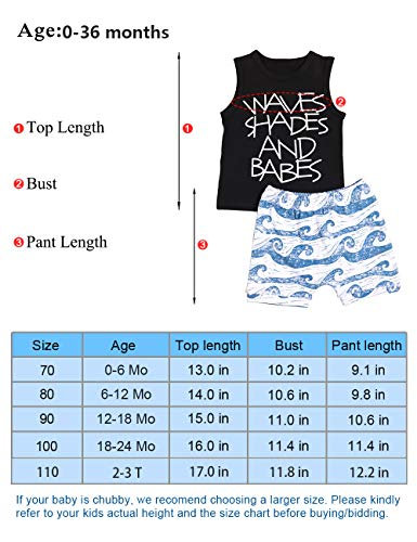 0c5b1744bbdd Baby Boy Clothes Waves Shades and Babes Print Summer Black Sleeveless Tops  and Wave Short Pants