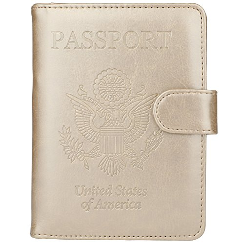 GDTK Leather Passport Holder Cover Case RFID Blocking Travel Wallet (Gold #2)