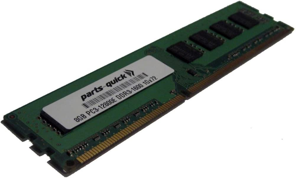 PARTS-QUICK Brand 8GB DDR3 Memory Upgrade for Dell PowerEdge T620 PC3-12800E ECC Unbuffered DIMM 240 pin 1600MHz RAM