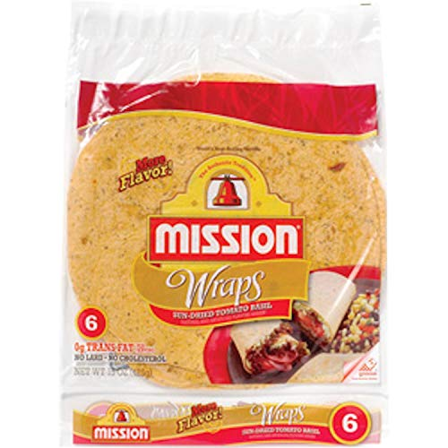 Mission, Sun-Dried Tomato & Basil Wraps, 6 Count, 15oz Package (Pack of 4)