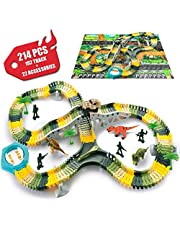 SYOSIN Dinosaur Tracks Toy Race Car Flexible Track Playset 214 Pcs Children Great Gift Set Birthday Present Party Suppliesfor 3 4 5 6 Year Old Kids
