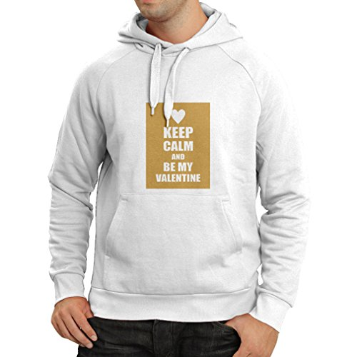 Hoodie Keep Calm and Be My Valentine - I Love You Quotes, Gifts (X-Large White Gold) (Valintines Day Facts)