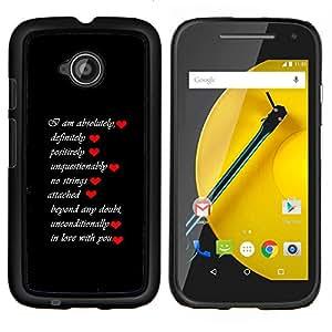 """Be-Star Único Patrón Plástico Duro Fundas Cover Cubre Hard Case Cover Para Motorola Moto E2 / E(2nd gen)( Lista Amor"""" )"""
