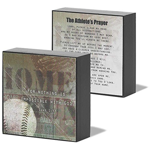 Dicksons Nothing Is Impossible With God Baseball Onyx 3 x 3 Wood Wall Sign Plaque