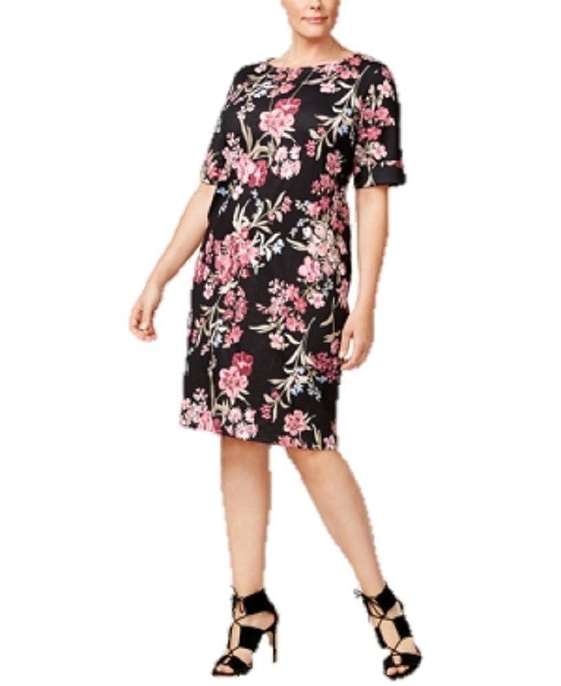 0aa6b6b8ab12b Karen Scott Plus Size Floral-Print Shift Dress (2X) at Amazon Women s  Clothing store