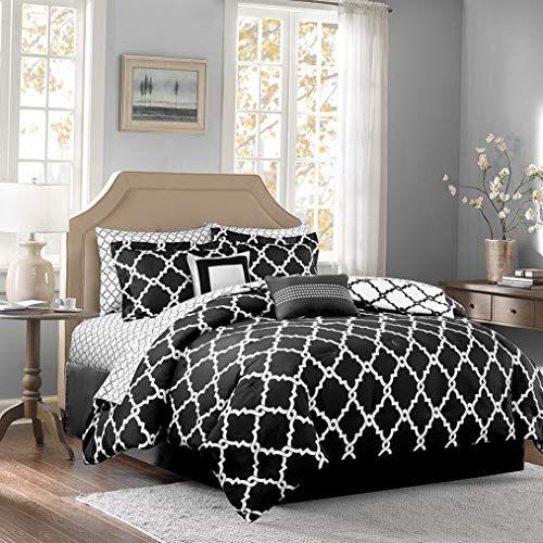 Kaputar Beautiful Modern Chic Contemporary Black Grey Comforter Set Pillows New | Model CMFRTRSTS - 2184 | King