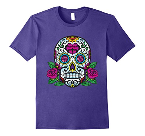 Mens Day of Dead Skull Tshirt Sugar Skull Pirates Skeleton XL Purple (Purple Skeleton)