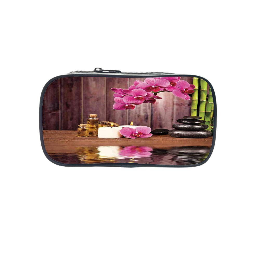 Strong Durability Pen Bag,Spa Decor,Spa Flower Water Reflection Aromatherapy Bamboo Blossom Candlelight,for Students,Diversified Design