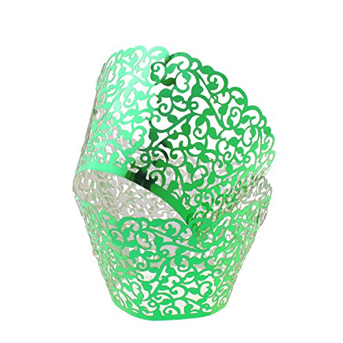 UNIQLED Filigree Artistic Bake Cake Paper Cups Little Vine Lace Laser Cut Liner Cupcake Wrappers Baking Cup Muffin Holder Case for Wedding Birthday Party Decoration (60, Metallic (Green Halloween Cupcakes)