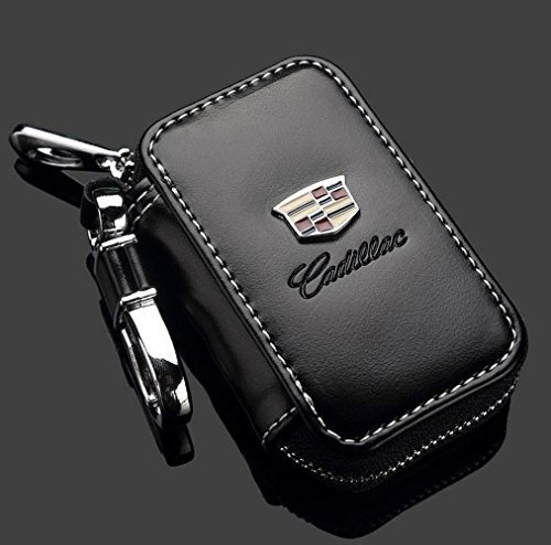 (Cadillac Black Premium Leather Car Key Chain Coin Holder Zipper Case Remote Wallet Bag)
