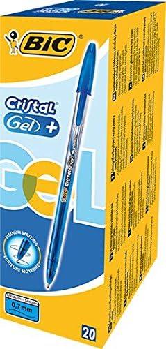 BIC Cristal Gel+ - Caja de 20 unidades, bolígrafos punta media (0 ...