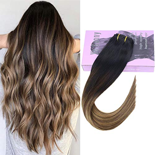 VeSunny 16inch Ombre Clip in Extensions Remy Human Hair Color #1B Natural Black Fading to #4 Dark Brown Mixed #27 Caramel Blonde Hair Extensions Clip in Remy Hair Ombre 7pcs 120g/Set