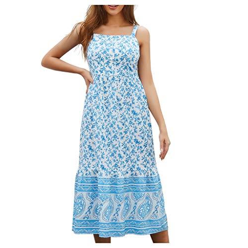 kemilove Women's Casual Spaghetti Strap Sexy Sleeveless Floral Printed Summer Beach Sundress Swing Cami Dress Light Blue ()