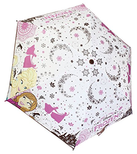 Disney Frozen Folding Umbrella Elsa Anna White Snowflake Japan #A