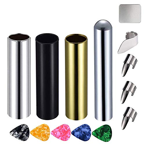 Activists 14Pcs Guitar Slides Kit 3Pcs Metal Slides, 1Pcs Chrome Stainless Steel Bar Guitar Lap Slide with 4 Stainless Steel Thumb & Finger Picks 5 Pieces Guitar Picks (Random Color) in Metal Box