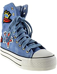 Warda 27 Womens Patched High Top Denim Sneakers