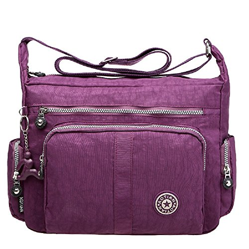 Large Capacity Women's Casual Shoulder Bags Waterproof Multi Pockets Nylon Cross Body Handbags Purple