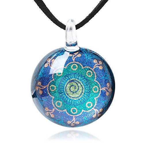 (Chuvora Hand Blown Glass Jewelry Magic Mandala Symbol Round Pendant Necklace, 17-19 inches)