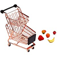 JUYUN Mini Shopping Cart,Metal Shopping Cart Toy Mini Shopping Handcart Mode Tiny Ulitily Trolley Toy for Kids Table…