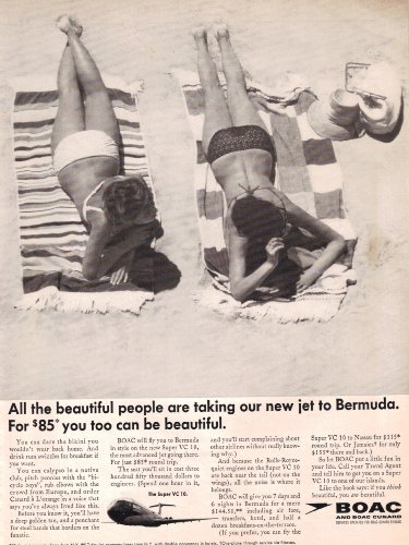 1966 BOAC Airlines British Airways Bikini Girls In Bermuda Vintage Original Magazine Print Ad