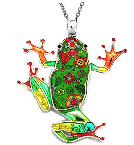 - DianaL Boutique Large Frog Pendant Necklace with 24