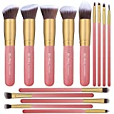 BS-MALL New 14 Pcs Makeup Brushes Premium Synthetic Kabuki Makeup Brush Set Cosmetics Foundation Blending Blush Eyeliner Face Powder Brush Makeup Brush Kit(golden Pink)