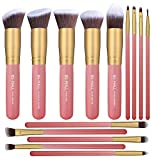 BS-MALL New 14 Pcs Makeup Brushes Premium Synthetic Kabuki Makeup Brush Set Cosmetics Foundation Blending Blush Eyeliner Face Powder Brush Makeup Brush Kit(golden Pink)