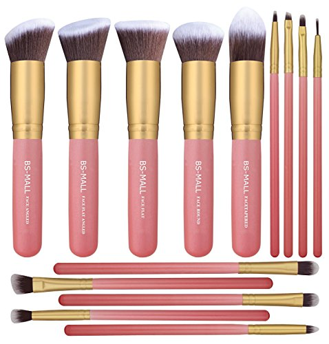 BS-MALL New 14 Pcs Makeup Brushes Premium Synthetic Kabuki Makeup Brush Set Cosmetics Foundation Blending Blush Eyeliner Face Powder Brush Makeup Brush Kit(golden Pink)]()