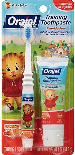 515AzMFyUbL. AC - Orajel Daniel Tiger's Neighborhood Fluoride-Free Training Toothpaste & Toothbrush Combo Pack, Fruity Stripes, 1.0oz