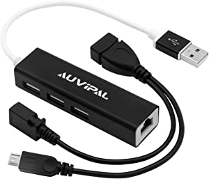 AuviPal LAN Ethernet Adapter with 3 Ports USB OTG Hub for Streaming TV Stick, Chromecast, Google Home Mini, Raspberry Pi Zero - Powered Micro USB OTG Cable Included