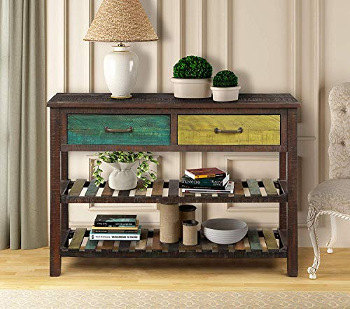 Retro Console Buffet Sideboard Sofa Table for Entryway Hallway Bathroom Living Room Drawers and Two Tiers Shelves, Colorful