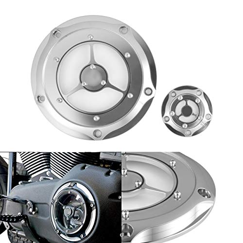 NATGIC Motorcycle Derby Cover Silver CNC Aluminum Derby Cover Engine Timing Timer Cover for Harley 1999-2014 Harley Davidson Twin Cam Touring Road King Electra -