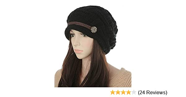 2072538c421 ZOMOY Women Knit Hat Winter Warm Thick Slouchy Cable Knit Hat Snow Ski Caps  (Black) at Amazon Women s Clothing store