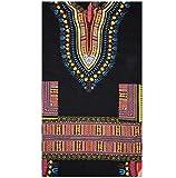 YUNY Men's African Printed Hood Mid Long Dashiki T-Shirt Top Tees Black L