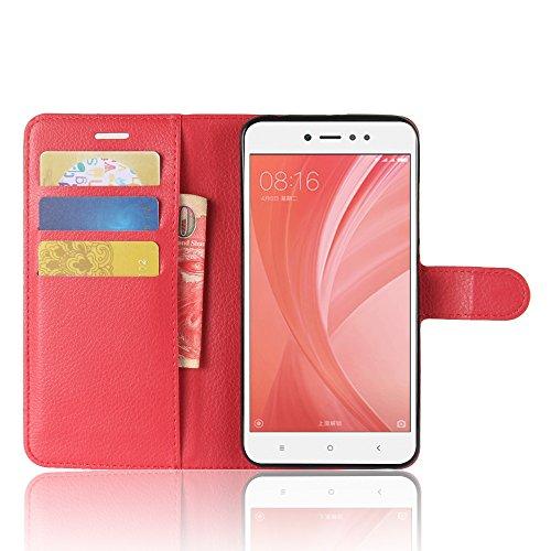 Xiaomi Redmi Note 5A Funda Faux Cuero Billetera Funda para Xiaomi Redmi Note 5A con Stand Función(Negro) Rojo