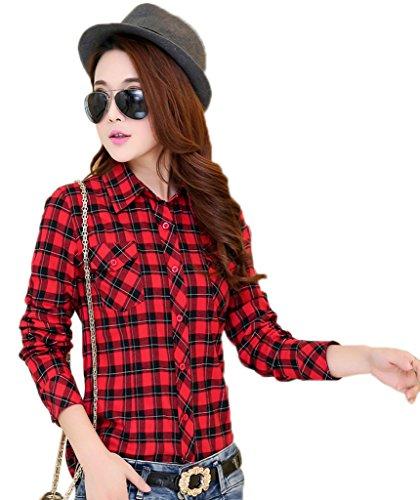 Ru Femme Manches Xiang Noir en Classique Carreaux Chemise Longues Rouge Cotonnade Igww7dXqx