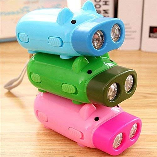 Lovely Pig Flashlight Hand Pressure,Flashlight for Kids Cute Mini Pig Camping emergency light Immediate Light for Emergency, Campfire Green Energy No Battery 3 Pack