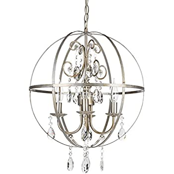 Benita chrome finish metal orb crystal chandelier amazon luna vintage silver orb crystal chandelier metal round sphere swag plug in 4 light mozeypictures