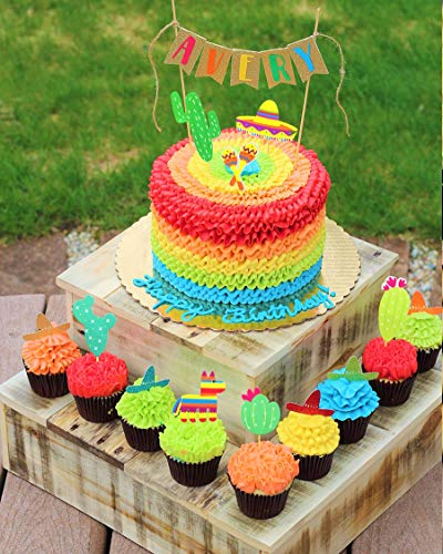 JeVenis (42 pcs) Fiesta Cupcake Toppers Mexican Fiesta Party Striped Decorative Cake Topper for Mexican Themed Cactus Donkey Taco Pepper Sombrero Mustache Party Decorations by JeVenis (Image #1)