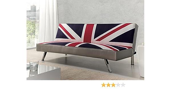 Due-home - Sofa Cama Clic-clac, Patas cromadas, Acabado en Estampado Bristish, Medidas: ↔ 180 ↕ 85 ↗ 83cm