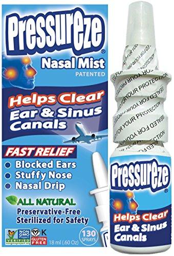 Sinus Relief Pregnant (Pressureze Nasal Mist - 0.6 OZ - All Natural, Drug Free, Preservative Free, BPA Free, Sterile, Contamination Free, NON GMO, Vegan, Gluten Free)