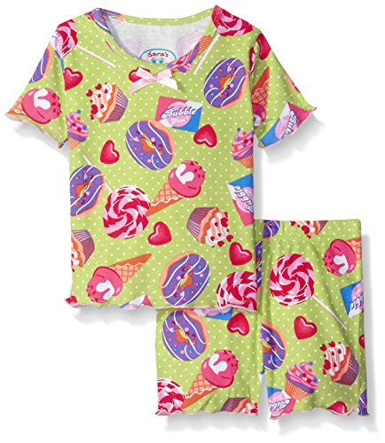 Sara's Prints Little Girls' Fitted 2 Piece Short Pajama Set, Sweet Sweets Lime/Sweet Sweets Lime, 2