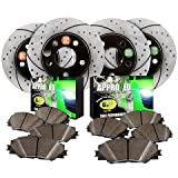 Approved Performance F19001 Front & Rear Performance Drilled and Slotted Brake Rotors with Ceramic Brake Pads Fits F150