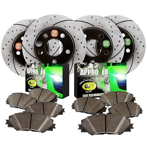 F150 Power Disc Brake (Approved Performance F19001 Front & Rear Performance Drilled and Slotted Brake Rotors with Ceramic Brake Pads Fits F150)