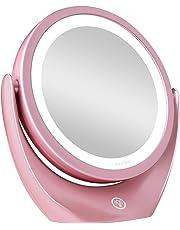 Aesfee Miroir Grossissant 5X de Maquillage avec Lumières LED, Miroir de Maquillage Illuminé de Voyage Portatif Double Face, Commutateur de Capteur Tactile Dimmable, 3 Niveaux de Luminosité